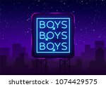 boys neon sign. lgbt. gay show... | Shutterstock .eps vector #1074429575