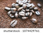 coffee with coffee beans  ... | Shutterstock . vector #1074429761