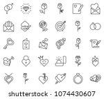 thin line icon set   rose... | Shutterstock .eps vector #1074430607