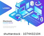 isometric flat electronic... | Shutterstock .eps vector #1074432104