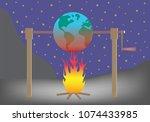 planet earth roasting over fire.... | Shutterstock .eps vector #1074433985