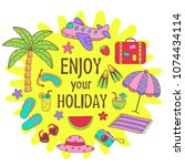 poster with summer icons on sun ... | Shutterstock .eps vector #1074434114