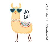 cute lama character. print for... | Shutterstock .eps vector #1074434135