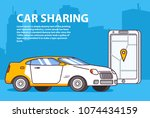 car sharing.online rent.concept ... | Shutterstock .eps vector #1074434159