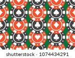 casino chips seamless pattern.... | Shutterstock .eps vector #1074434291