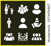 set of 9 people filled icons... | Shutterstock .eps vector #1074434807