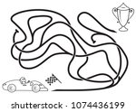 maze game for kids. coloring...   Shutterstock .eps vector #1074436199