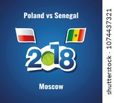 soccer poland vs senegal flags... | Shutterstock .eps vector #1074437321