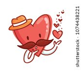 mister heart character with... | Shutterstock .eps vector #1074438221
