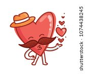 mister heart character with... | Shutterstock .eps vector #1074438245
