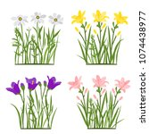 spring and summer forest and... | Shutterstock .eps vector #1074438977