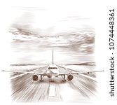 the plane stands on the runway  ... | Shutterstock .eps vector #1074448361