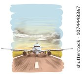 the plane stands on the runway  ... | Shutterstock .eps vector #1074448367