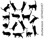 Stock vector set vector silhouettes of the cat different poses standing jumping and sitting black color 1074451457