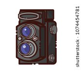 old twin lens reflex camera.... | Shutterstock .eps vector #1074454781