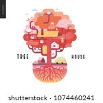 tree house concept   a tree... | Shutterstock .eps vector #1074460241