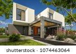 3d rendering of modern cozy... | Shutterstock . vector #1074463064