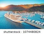 Cruise Ship At Harbor. Aerial...