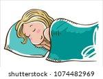 sleeping blonde girl on a... | Shutterstock .eps vector #1074482969