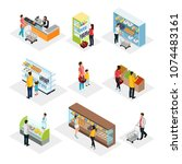 isometric people in grocery... | Shutterstock .eps vector #1074483161