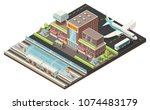 isometric airport and metro... | Shutterstock .eps vector #1074483179
