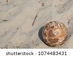 brown leather ball for beach...   Shutterstock . vector #1074483431