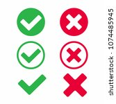 check marks icon signs vector... | Shutterstock .eps vector #1074485945