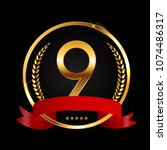 template logo 9 years... | Shutterstock . vector #1074486317