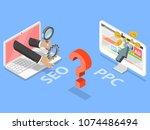 seo vs ppc flat isometric... | Shutterstock .eps vector #1074486494