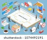 omnichannel flat isometric ... | Shutterstock . vector #1074492191
