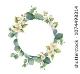 watercolor hand painted wreath... | Shutterstock . vector #1074498314