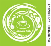 cup of matcha latte isolated on ... | Shutterstock .eps vector #1074502805