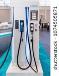 Small photo of FRIEDRICHSHAFEN, GERMANY, APRIL 19, 2018. Electric charging station SIEMENS for recharging aircraft battery. GERMANY