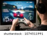 gaming game play tv fun gamer... | Shutterstock . vector #1074511991