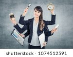 multitask business woman with... | Shutterstock . vector #1074512591
