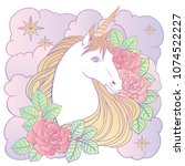 unicorn clouds and roses  hand... | Shutterstock .eps vector #1074522227