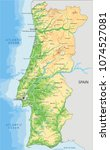 detailed portugal physical map. | Shutterstock .eps vector #1074527081