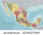 detailed mexico political map. | Shutterstock .eps vector #1074527099