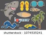 summer set on the theme of...   Shutterstock .eps vector #1074535241