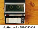audio cassette tape rolling in...   Shutterstock . vector #1074535634