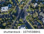 Small photo of Aerial view of six way intersection at N Beverly Drive and N Canon Drive and Lomitas Ave in Beverly Hills, California.