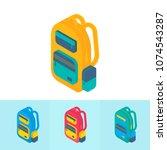 isometric 3d school supplies... | Shutterstock .eps vector #1074543287