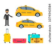 machine yellow cab with driver... | Shutterstock .eps vector #1074543584