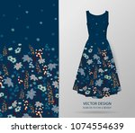 hand drawn floral pattern on... | Shutterstock .eps vector #1074554639