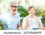 aged couple looking at camera... | Shutterstock . vector #1074568499