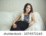 pregnant young woman. beautiful ...   Shutterstock . vector #1074572165