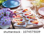 close up of mini sandwich on a... | Shutterstock . vector #1074575039