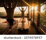 tropical open yoga studio place ... | Shutterstock . vector #1074578957