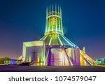 night view of the metropolitan... | Shutterstock . vector #1074579047