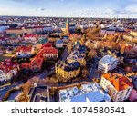 Aerial view of beautiful city Helsinki at spring. Blue sky and clouds and colorful buildings. Helsinki, Finland.